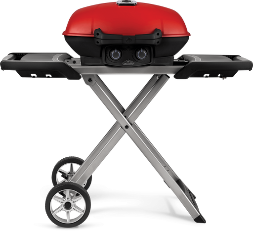 TravelQ™ 285X Portable Propane Gas Grill and Scissor Cart with Griddle, Red