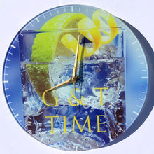 GLASS PHOTO WALL CLOCK - WITH WHITE MARKINGS - DIAMETER 29cm