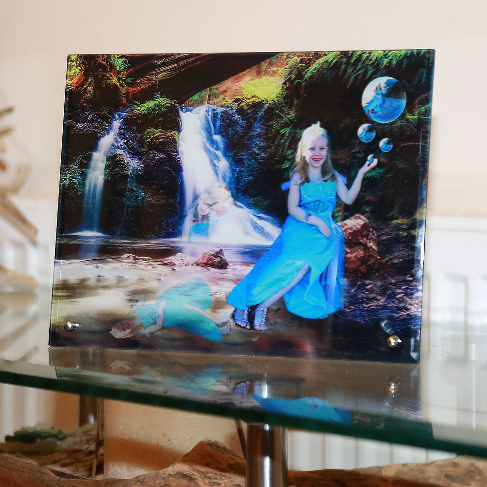 "Free Standing Glass Photo Print (8""x10"") Landscape - Personalised Photo On Glass"