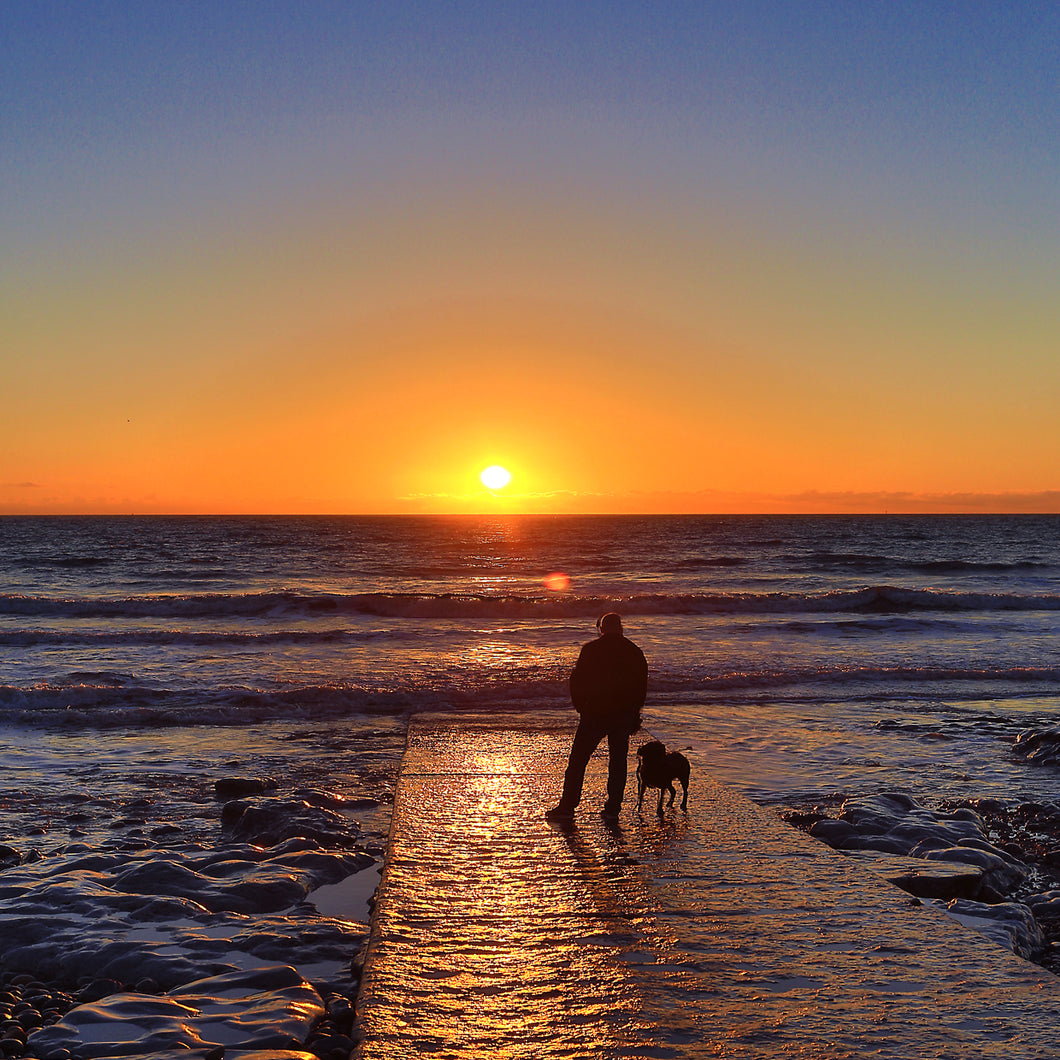 PORTHCAWL REST BAY ONE MAN & HIS DOG - Sue Salton Photo Art