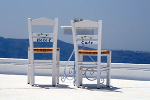 Clear Glass Chopping Board/Work Top Saver Santorini chairs with Your Name On - Sue Salton Photo Art