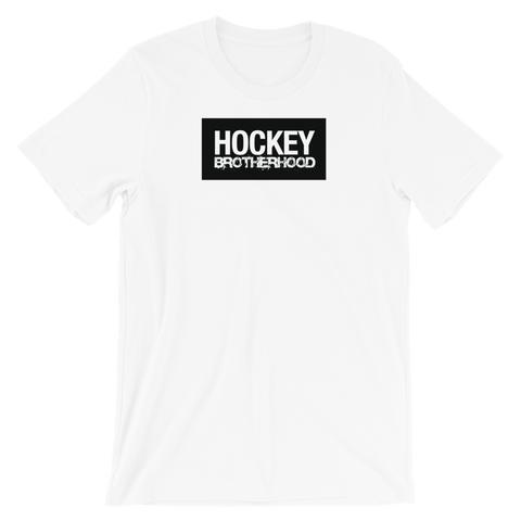 HB BLOCK T-SHIRT- WHITE / BLACK LOGO - HockeyBROTHERHOOD