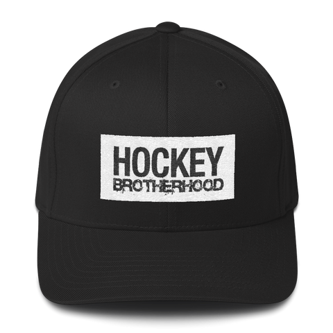 HB Block FlexFit Hat - Black / White - HockeyBROTHERHOOD