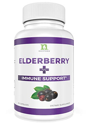 Elderberry Capsules with Zinc, Vitamin C, Garlic & Echinacea - Immune Support Boost For Adults Women and Men - 60 Elderberry Zinc Capsule