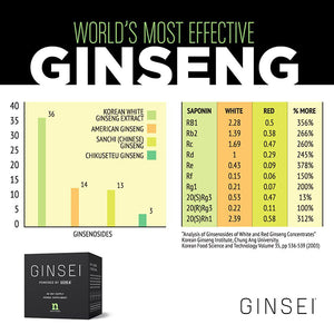 Asian Panax Korean Root Ginseng Extract Capsules - 13% Ginsenosides