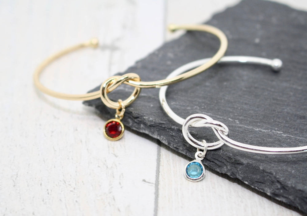 Knot Bracelet with Birthstone Charm