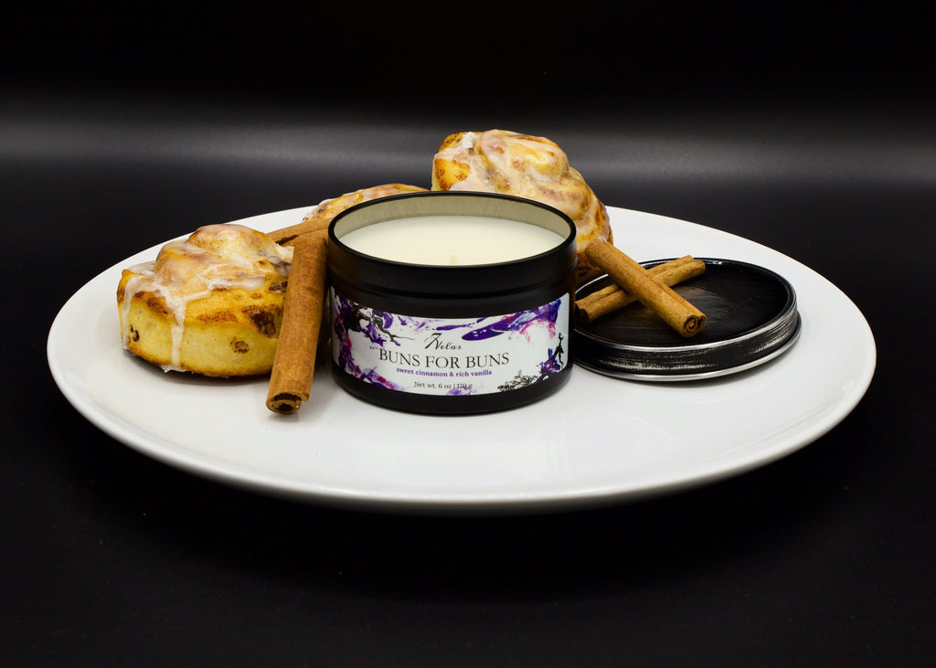 Cinnamon Bun  Classic Fall Autumn Coconut and Soy wax candle in a black tin can.
