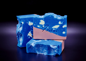 Handmade Artisan Soap Island Sea. Blue white and beige color inspired by the beach.