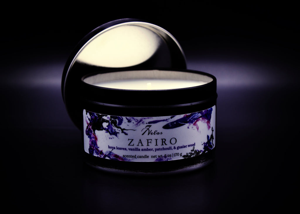 Black Tin Coconut Soy Candle Fall Fresh Hoya Leaves, Vanilla Amber, Patchouli & Guaiac Wood