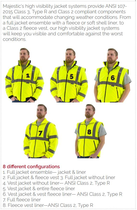 Majestic's high visibility jacket system configurations