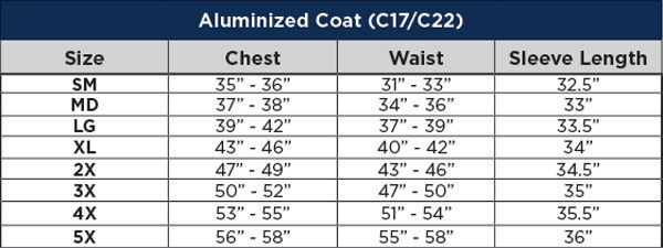 National Safety Apparel Aluminized Acrysil 50 in. Coat Sizing Chart