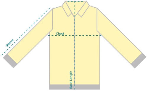 X1 Safety Bomber Jacket Sizing Chart Diagram