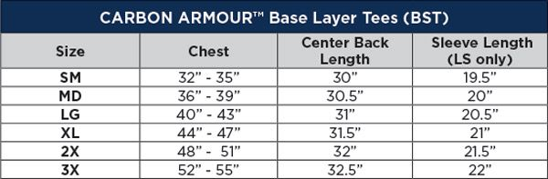 National Safety Apparel Carbon Armour BK Base Layer Shirt Sizing Chart
