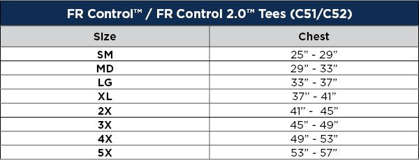 National Safety Apparel FR Control 2.0 Short Sleeve T-Shirt Sizing Chart