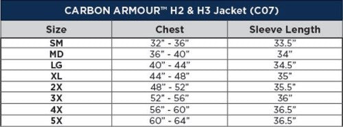 Carbon Armour H3 Jacket Sizing Chart