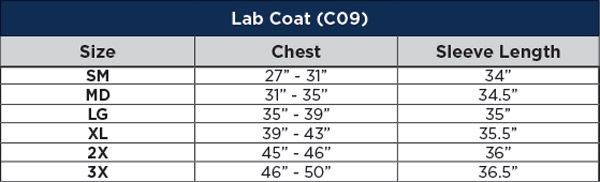 Fire Resistant Lab Coat Sizing Chart