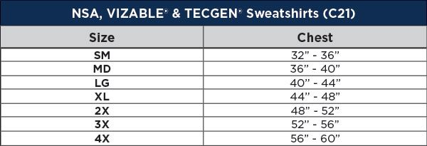 National Safety Apparel TECGEN FR Tacoma Heavyweight Zip Front Hoodie Sizing Chart