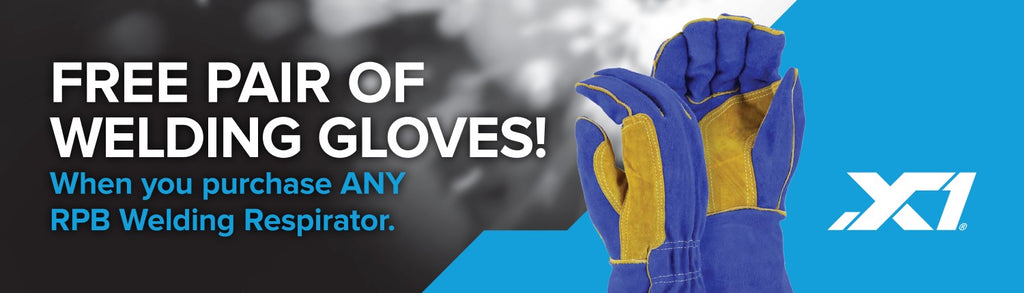 Free pair of welding gloves with welding respirator at X1 Safety