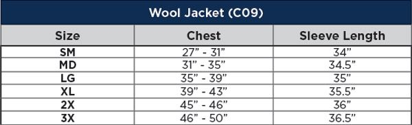 National Safety Apparel FR Navy Wool Coat Sizing Chart