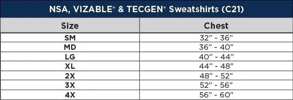 National Safety Apparel Lined Pullover FR Sweatshirt Sizing Chart