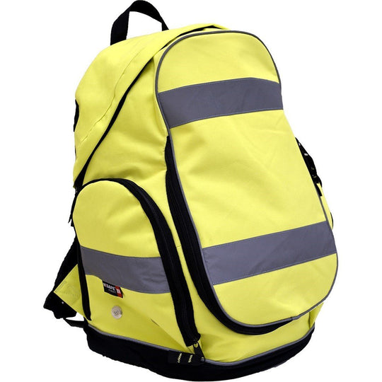 High Visibility Backpack - HiViz Yellow Carry All with Reflective Striping - Majestic