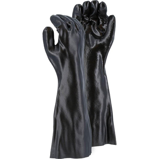 Chemical Resistant Gloves - Interlock Lined PVC, Smooth Finish, 12-18 Inch, Gauntlet Cuff (PK 12 Pairs) - X1 Safety