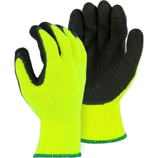 Crinkle Latex Palm Dip High Visibility Terry Lined Nylon Glove (PK 12 Pairs) - Majestic - X1 Safety