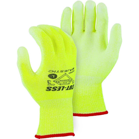 Cut Resistant Glove - Dyneema Blend, Polyurethane Palm Dip, Light Cut Resistance, High Visibility (PK 12 Pairs) - Majestic