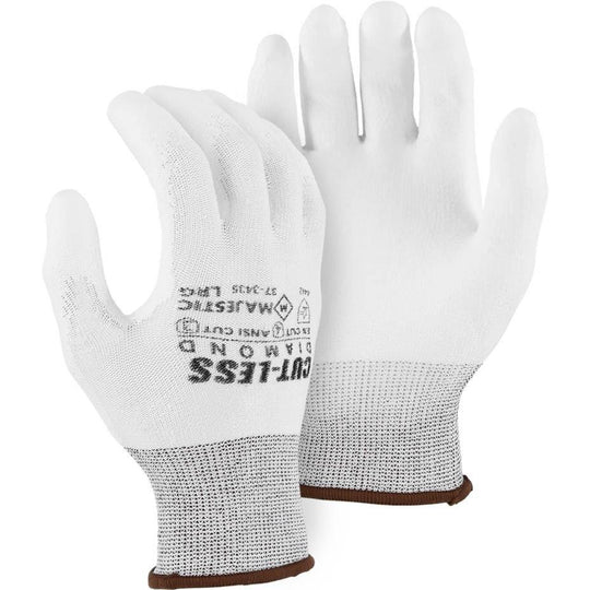 Cut Resistant Glove - Dyneema Blend, White Polyurethane Palm Dip, Light Cut Resistance (PK 12 Pairs) - Majestic - X1 Safety