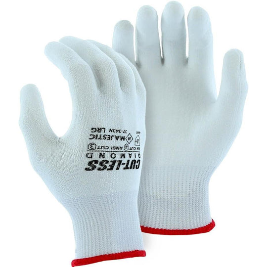 Cut Resistant Glove - Heavy Knit Dyneema Blend, White Polyurethane Palm Dip, Light Cut Resistance (PK 12 Pairs) - Majestic - X1 Safety