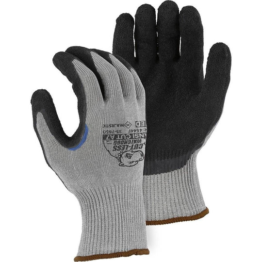 Cut Resistant Glove - KorPlex Blend, Crinkle Latex Palm Dip, High Cut Resistance (PK 12 Pairs) - Majestic - X1 Safety