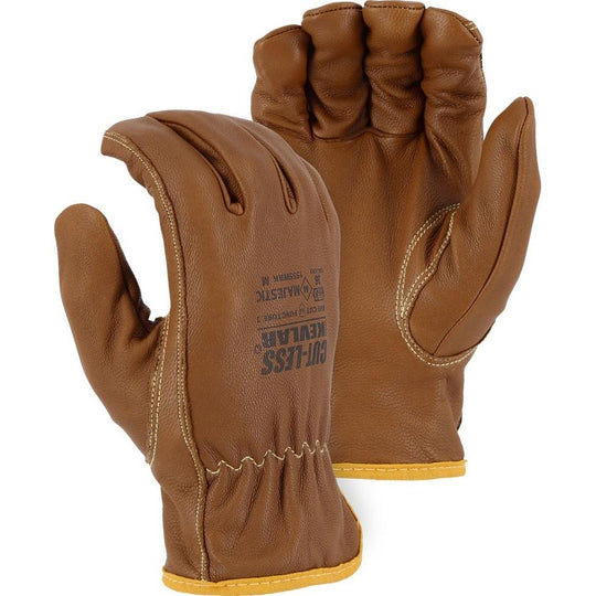 Cut Resistant Leather Drivers Glove - Kevlar Lined Goatskin, 36 Cal Arc Flash, Puncture, Abrasion, Oil, Water, and Cut Resistant (PK 12 Pairs)