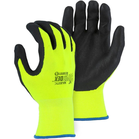 Foam Nitrile Palm Dip High Visibility Yellow Nylon Glove (PK 12 Pairs) - Majestic