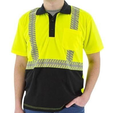 High Visibility Birdseye Mesh Short Sleeve Polo Shirt with Reflective Chainsaw Striping - X1 Safety