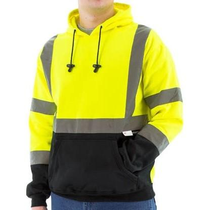 High Visibility Hooded Sweatshirt - Pullover, Reflective Striping - Majestic