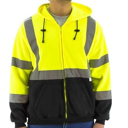 High Visibility Hooded Sweatshirt - Zip Close, Reflective Striping - Majestic - X1 Safety