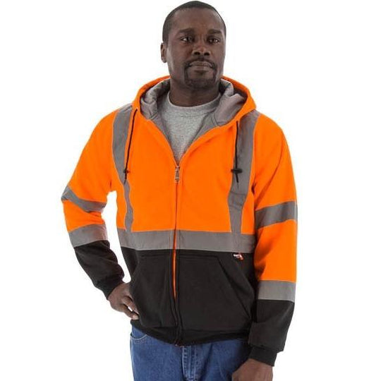 High Visibility Hooded Sweatshirt - Zip Close, Teflon Coated, Reflective Striping - Majestic - X1 Safety
