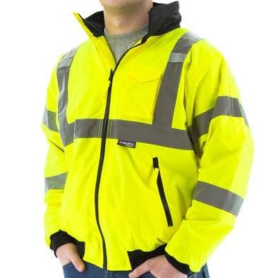 High Visibility Waterproof Jacket with Removable Fleece Liner and Reflective Striping - Majestic - X1 Safety