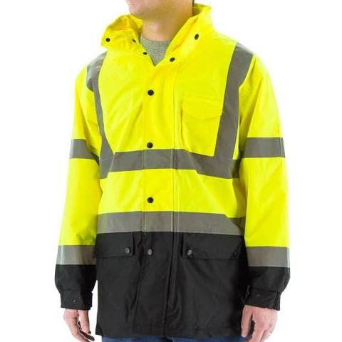 High Visibility Waterproof Parka with Nylon Liner and Reflective Striping - Majestic