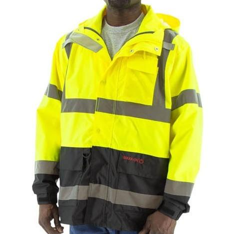High Visibility Waterproof Parka with Reflective Striping - Majestic - X1 Safety
