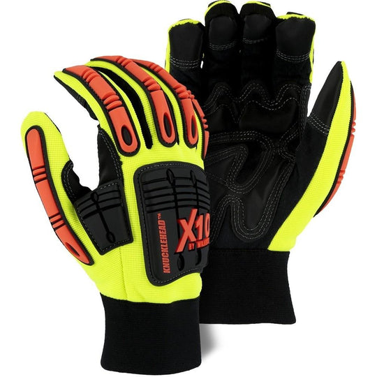 Impact Resistant Mechanics Glove with Armor Skin Palm, High Visibility (PK 12 Pairs) - Majestic Knucklehead X10 - X1 Safety