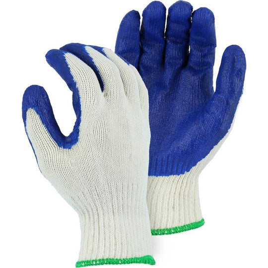Latex Palm Dip on String Knit Liner Glove - Blue Latex (PK 48 Pairs) - Majestic