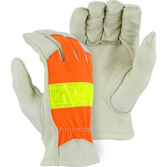 Leather Drivers Glove - A-Grade Cowhide Palm, Winter Lined, Keystone Thumb, 3M Reflective High Visibility, Majestic (PK 12 Pairs) - X1 Safety