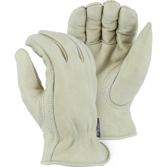 Leather Drivers Glove - A-Grade Premium Grain Cowhide, Winter Lined, Keystone Thumb, Shirred Back, Majestic (PK 12 Pairs) - X1 Safety