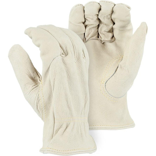 Leather Drivers Glove - Kevlar Sewn Heavyweight Grain Pigskin, Keystone Thumb, Majestic (PK 12 Pairs) - X1 Safety