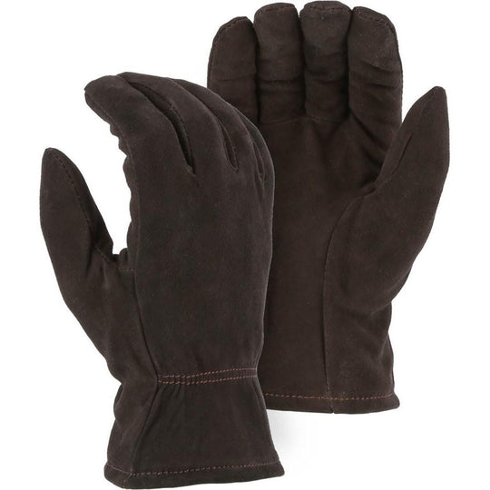 Leather Drivers Glove - Split Deerskin, Winter Lined, Keystone Thumb, Shirred Back, Majestic (PK 12 Pairs) - X1 Safety