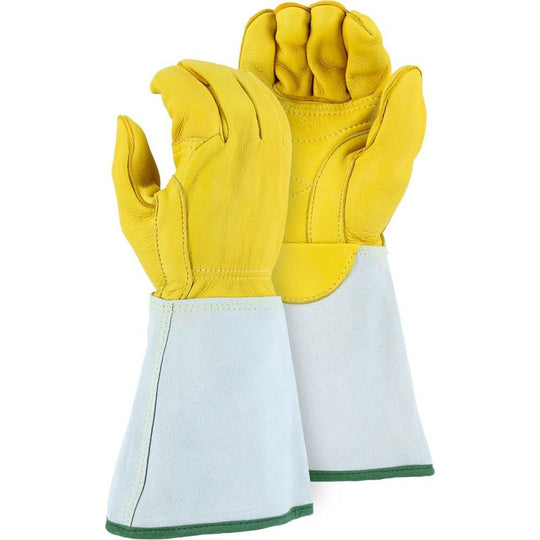 Leather Lineman's Gauntlet Glove - Top Grain Elkskin Sewn with Kevlar , Waterproof, Double Reinforced Palm, Straight Thumb, Majestic (PK 12 Pairs) - X1 Safety
