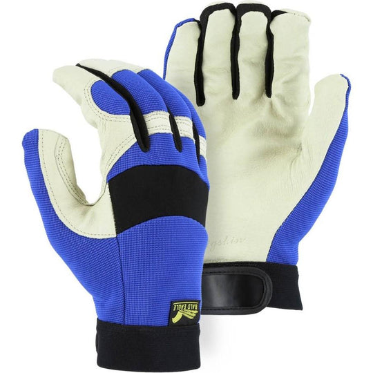 Leather Mechanics Gloves with A-Grade Pigskin Leather Palm - Adjustable Wrist Velcro (PK 12 Pairs) - Majestic - X1 Safety