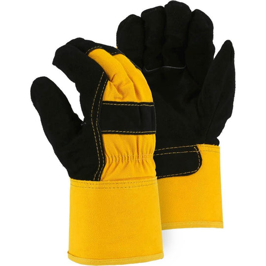 Leather Palm Glove - Premium Split Cowhide, Winter Lined, Wing Thumb, Safety Cuff, Majestic (PK 12 Pairs)