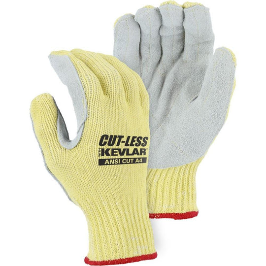 Leather Palm Glove - Split Leather, Kevlar Blend Moderate Cut Resistant, Knit Wrist, Majestic Cut-Less (PK 12 Pairs)
